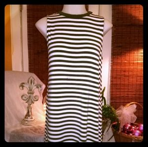 Time &tru black and white striped dress